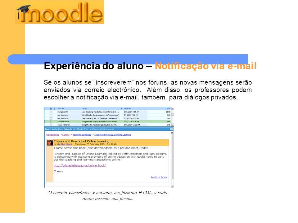 Experiência do aluno – Notificação via e-mail