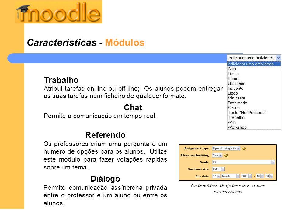 Cada módulo dá ajudas sobre as suas características