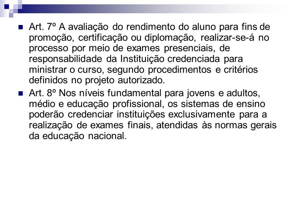 Art. 7º A avaliação do rendimento do aluno para fins de promoção, certificação ou diplomação, realizar-se-á no processo por meio de exames presenciais, de responsabilidade da Instituição credenciada para ministrar o curso, segundo procedimentos e critérios definidos no projeto autorizado.