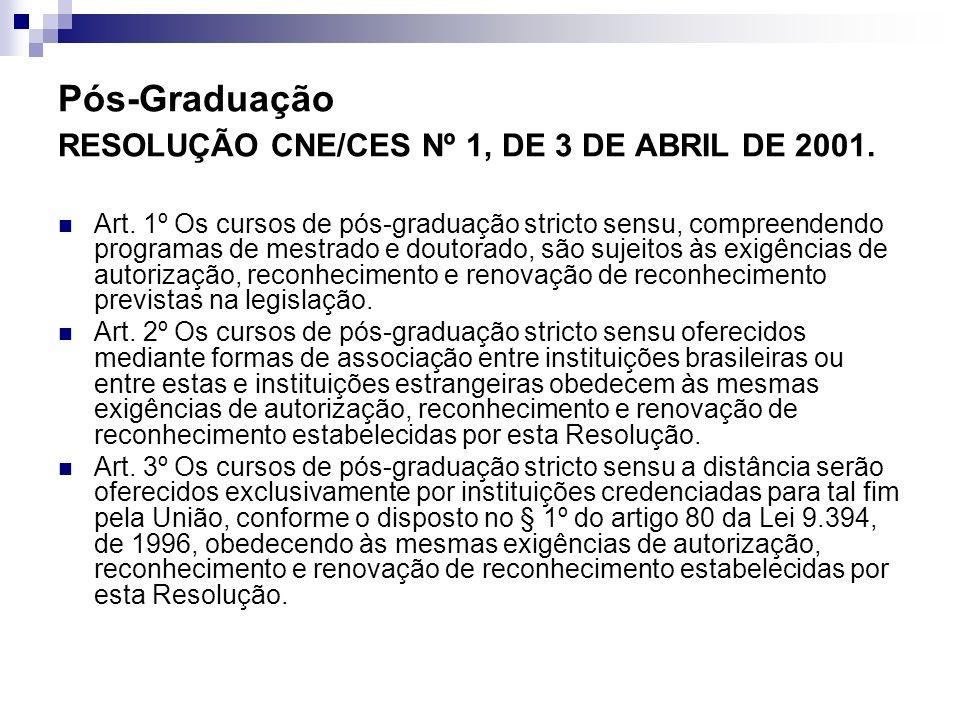 Pós-Graduação RESOLUÇÃO CNE/CES Nº 1, DE 3 DE ABRIL DE 2001.