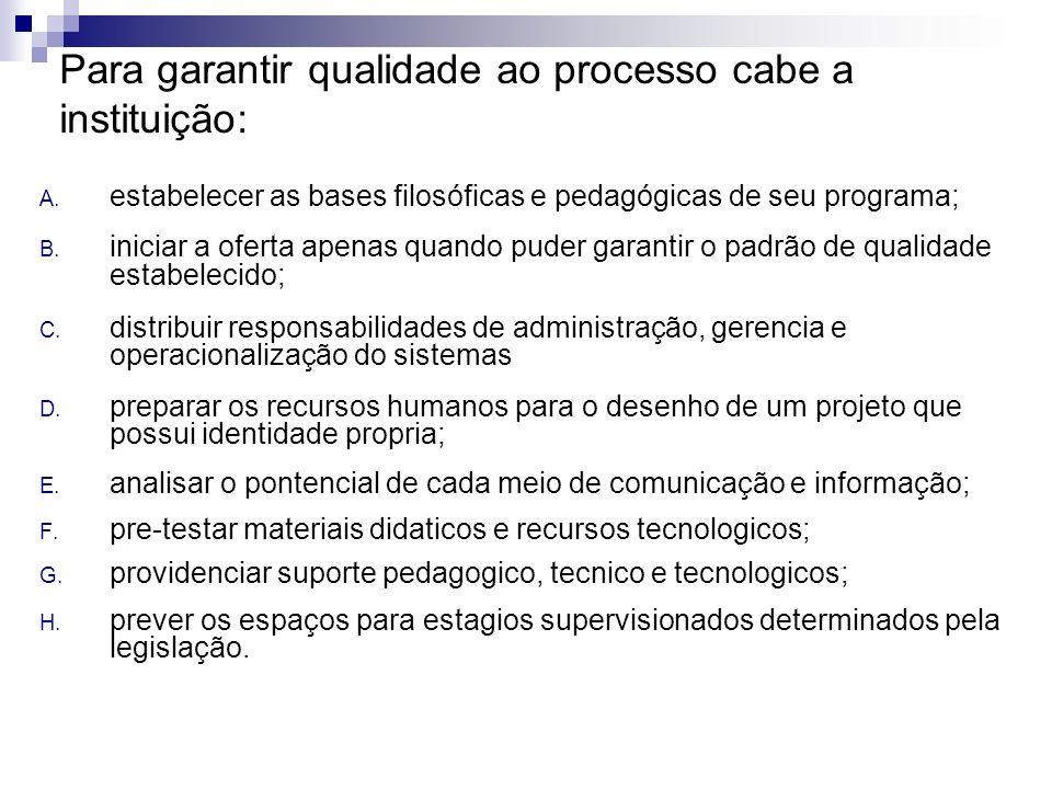 Para garantir qualidade ao processo cabe a instituição: