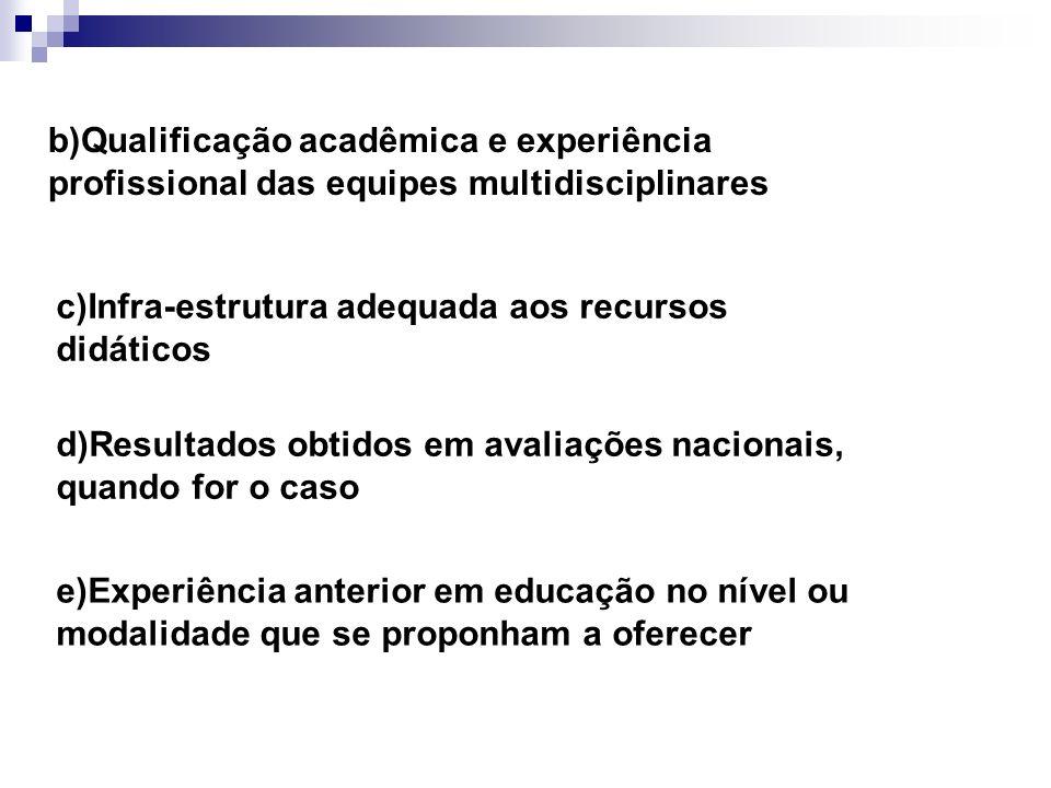 b)Qualificação acadêmica e experiência profissional das equipes multidisciplinares