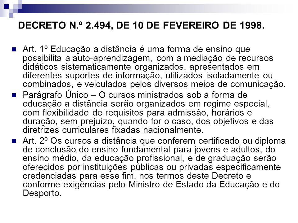 DECRETO N.º 2.494, DE 10 DE FEVEREIRO DE 1998.
