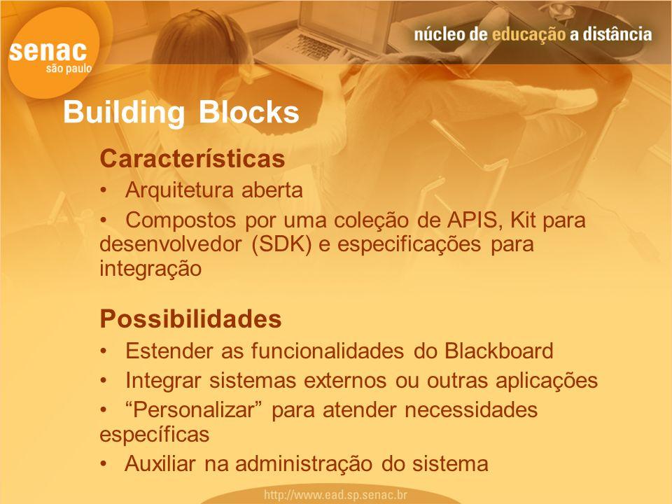 Building Blocks Características Possibilidades Arquitetura aberta