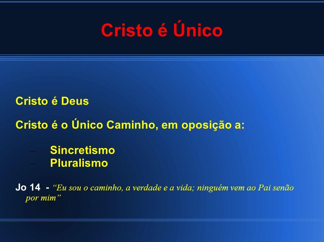 Cristo é Único Cristo é Deus Cristo é o Único Caminho, em oposição a: