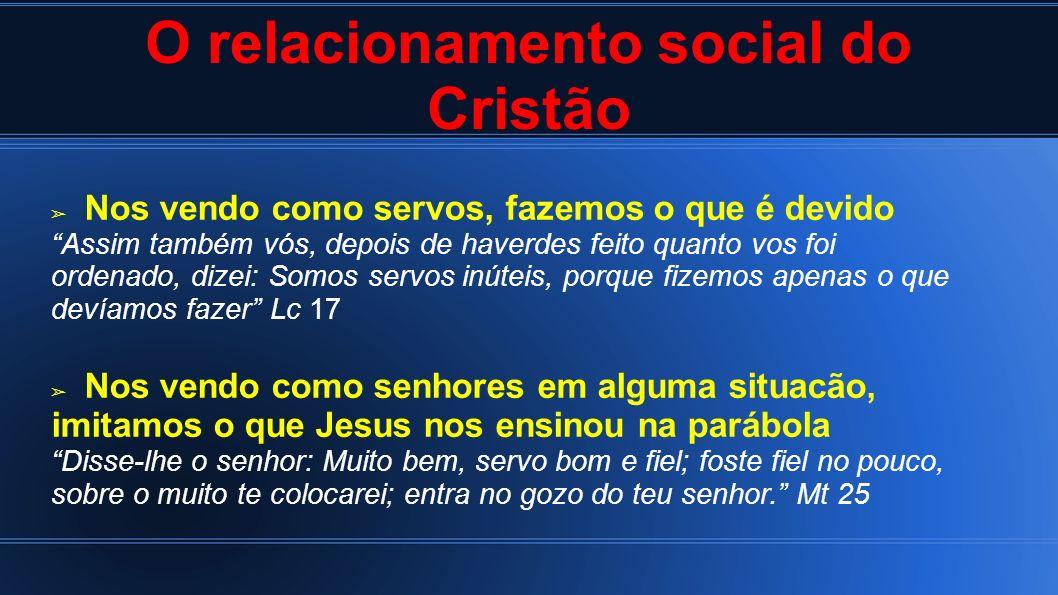 O relacionamento social do Cristão