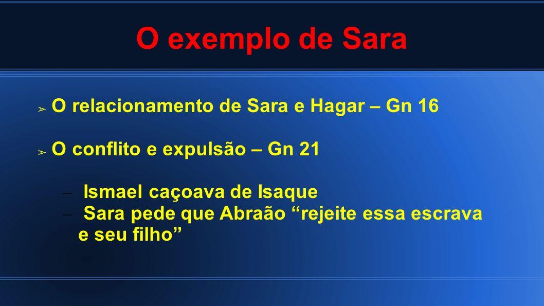 O exemplo de Sara O relacionamento de Sara e Hagar – Gn 16
