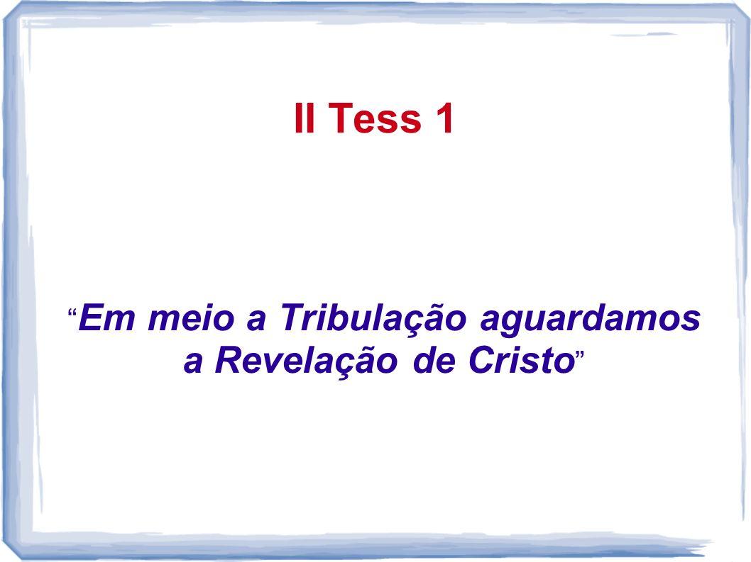 Em meio a Tribulação aguardamos a Revelação de Cristo