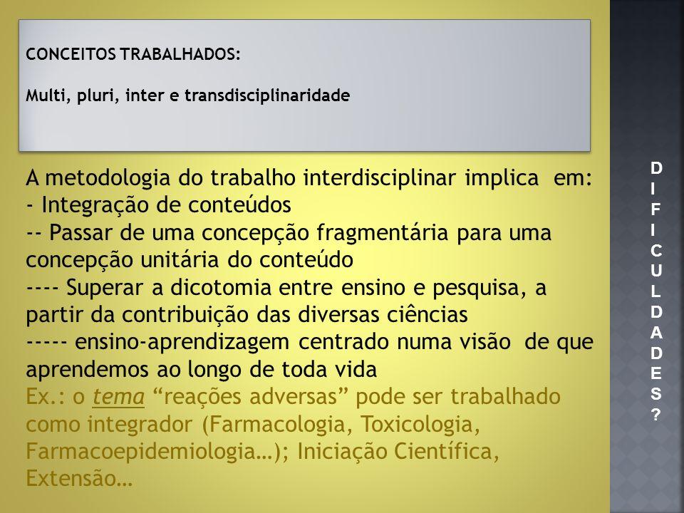 A metodologia do trabalho interdisciplinar implica em: