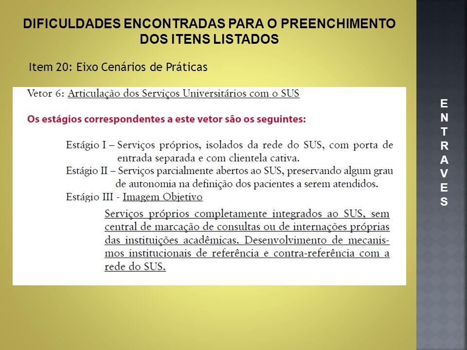 DIFICULDADES ENCONTRADAS PARA O PREENCHIMENTO DOS ITENS LISTADOS