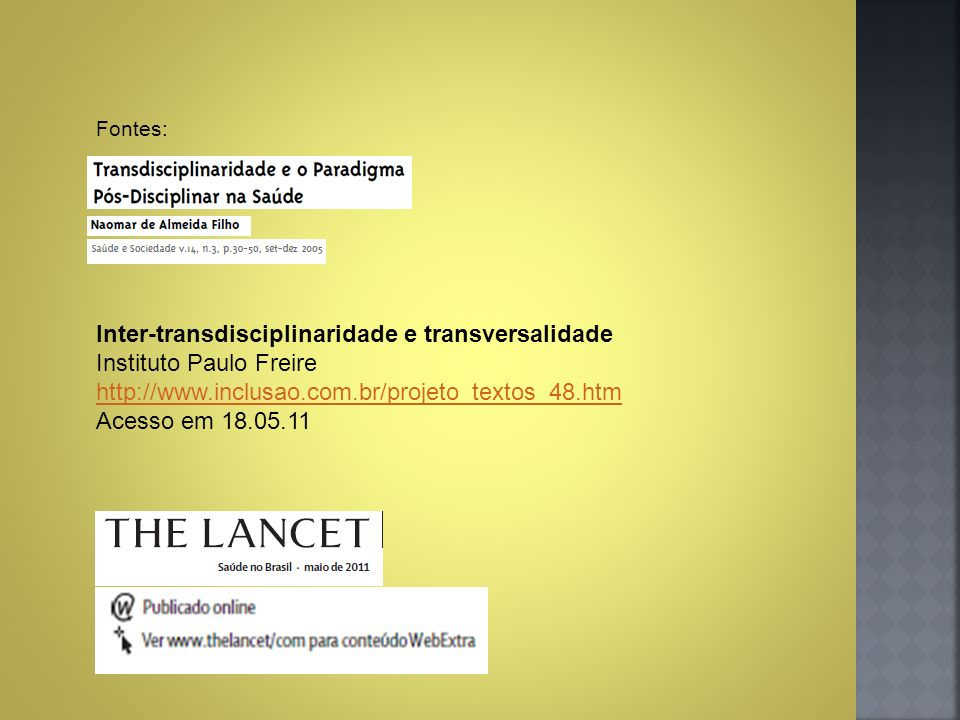 Inter-transdisciplinaridade e transversalidade Instituto Paulo Freire
