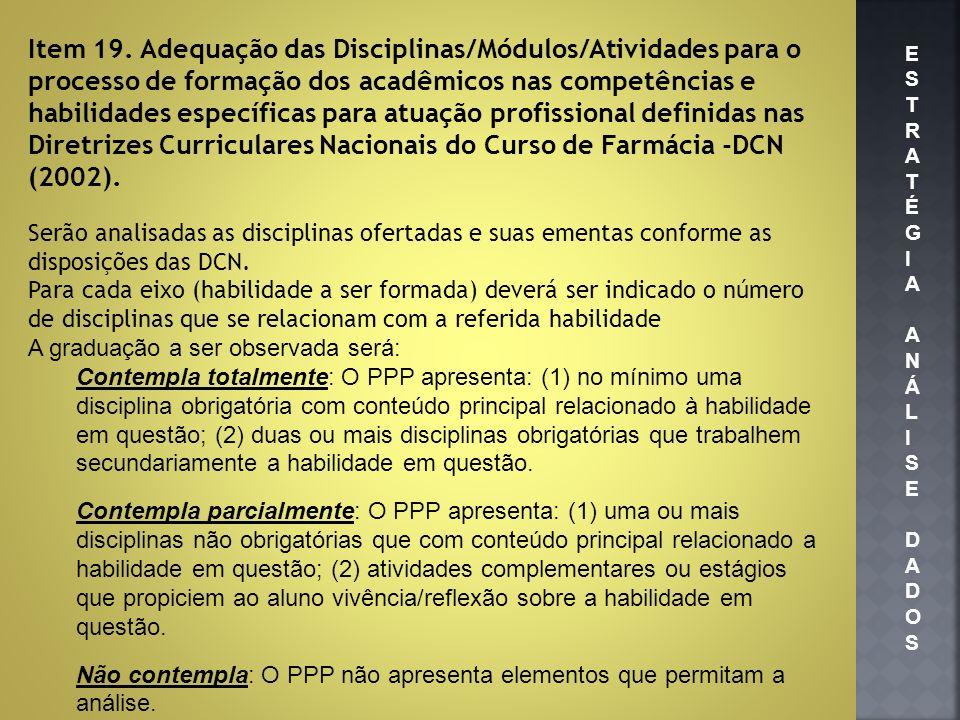 Item 19. Adequação das Disciplinas/Módulos/Atividades para o processo de formação dos acadêmicos nas competências e habilidades específicas para atuação profissional definidas nas Diretrizes Curriculares Nacionais do Curso de Farmácia -DCN (2002).