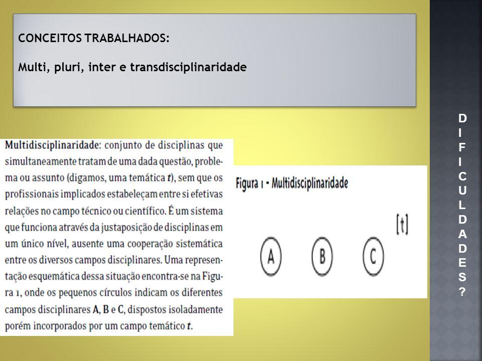 CONCEITOS TRABALHADOS:
