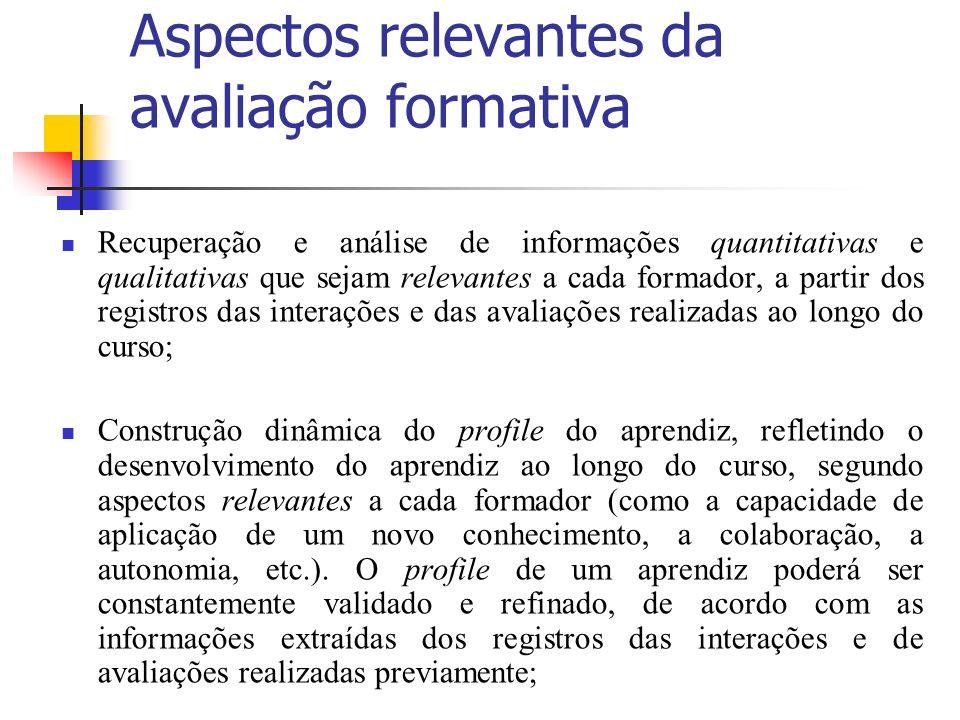 Aspectos relevantes da avaliação formativa