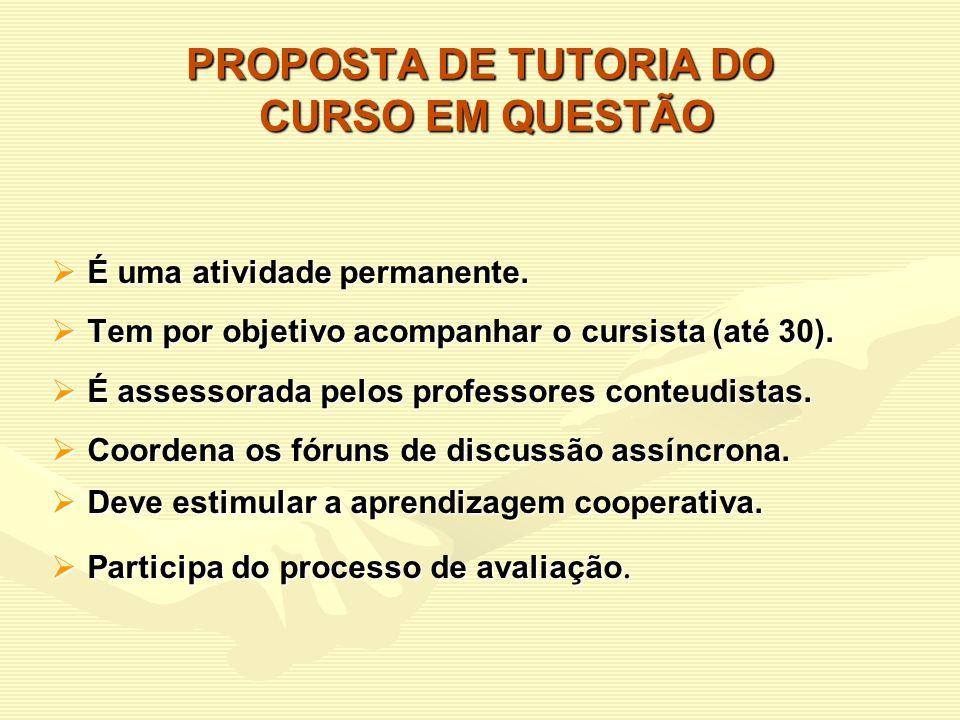 PROPOSTA DE TUTORIA DO CURSO EM QUESTÃO
