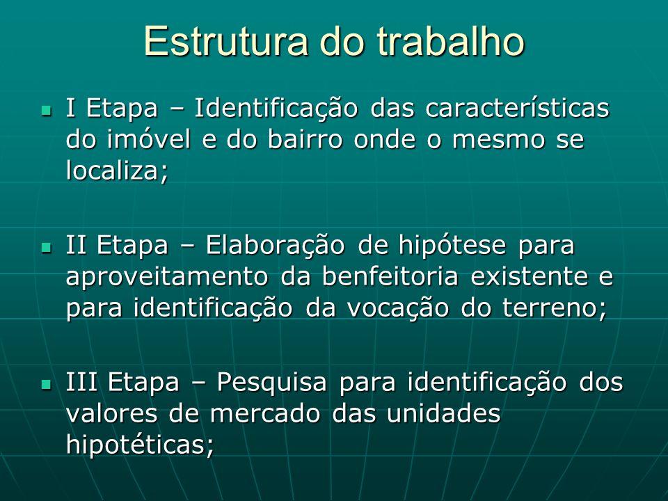 Estrutura do trabalho I Etapa – Identificação das características do imóvel e do bairro onde o mesmo se localiza;