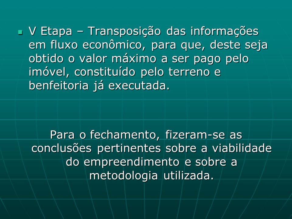 V Etapa – Transposição das informações em fluxo econômico, para que, deste seja obtido o valor máximo a ser pago pelo imóvel, constituído pelo terreno e benfeitoria já executada.