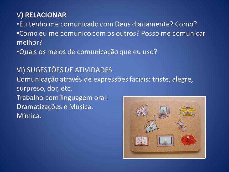 V) RELACIONAR Eu tenho me comunicado com Deus diariamente Como Como eu me comunico com os outros Posso me comunicar melhor