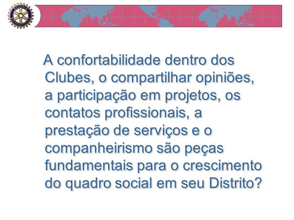 A confortabilidade dentro dos Clubes, o compartilhar opiniões, a participação em projetos, os contatos profissionais, a prestação de serviços e o companheirismo são peças fundamentais para o crescimento do quadro social em seu Distrito