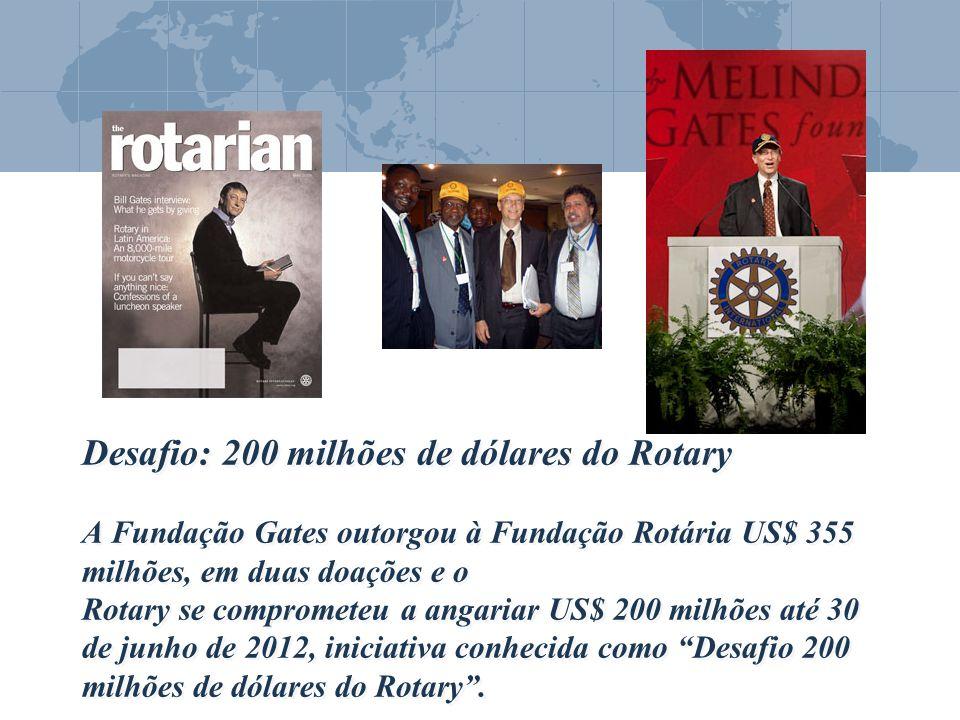 Desafio: 200 milhões de dólares do Rotary A Fundação Gates outorgou à Fundação Rotária US$ 355 milhões, em duas doações e o Rotary se comprometeu a angariar US$ 200 milhões até 30 de junho de 2012, iniciativa conhecida como Desafio 200 milhões de dólares do Rotary .