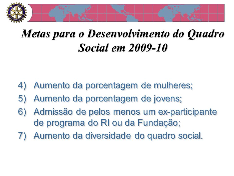 Metas para o Desenvolvimento do Quadro Social em 2009-10