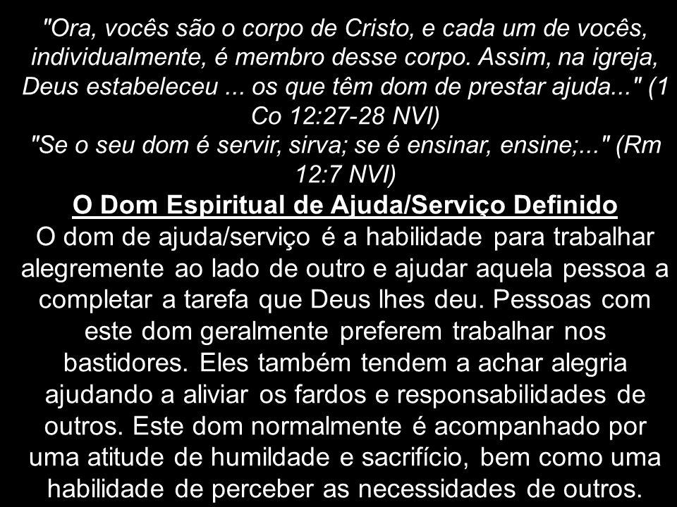 O Dom Espiritual de Ajuda/Serviço Definido