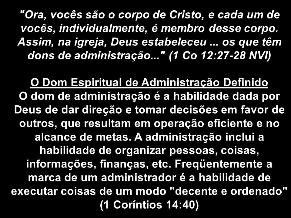 O Dom Espiritual de Administração Definido