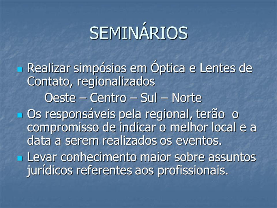 SEMINÁRIOS Realizar simpósios em Óptica e Lentes de Contato, regionalizados. Oeste – Centro – Sul – Norte.