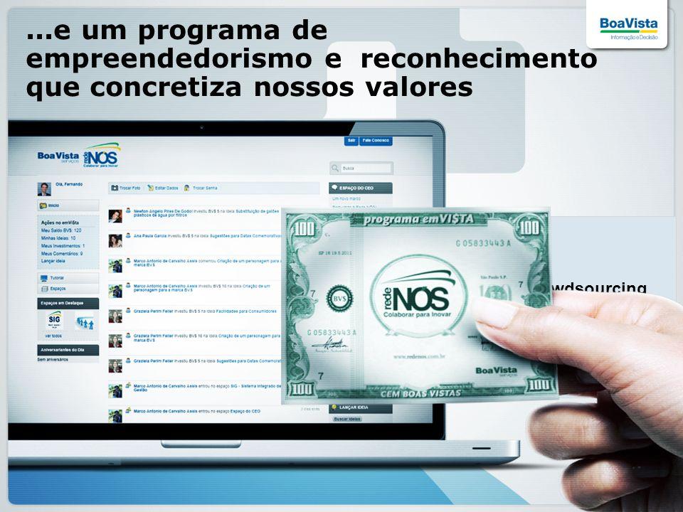 ...e um programa de empreendedorismo e reconhecimento que concretiza nossos valores