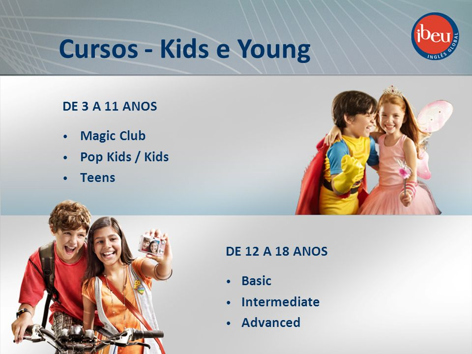 Cursos - Kids e Young DE 3 A 11 ANOS Magic Club Pop Kids / Kids Teens