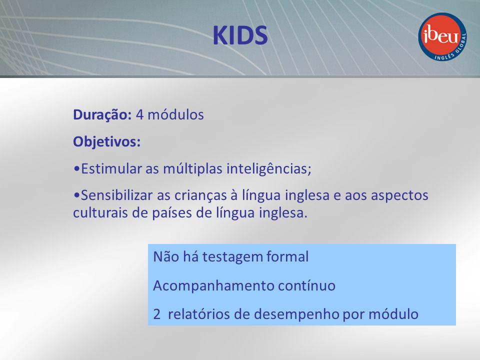 KIDS Duração: 4 módulos Objetivos: