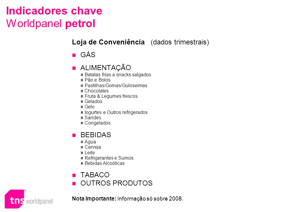 Indicadores chave Worldpanel petrol