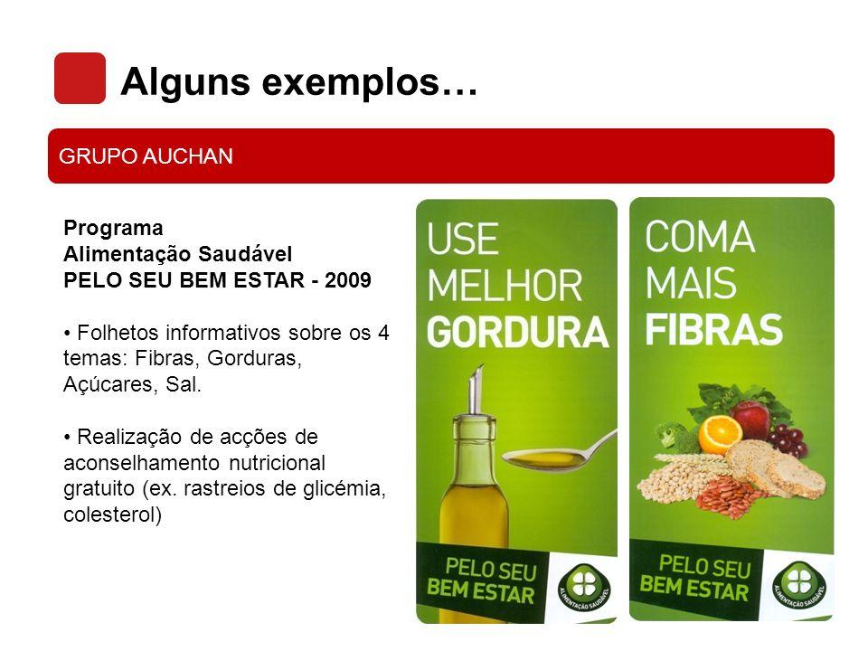 Alguns exemplos… GRUPO AUCHAN Programa Alimentação Saudável