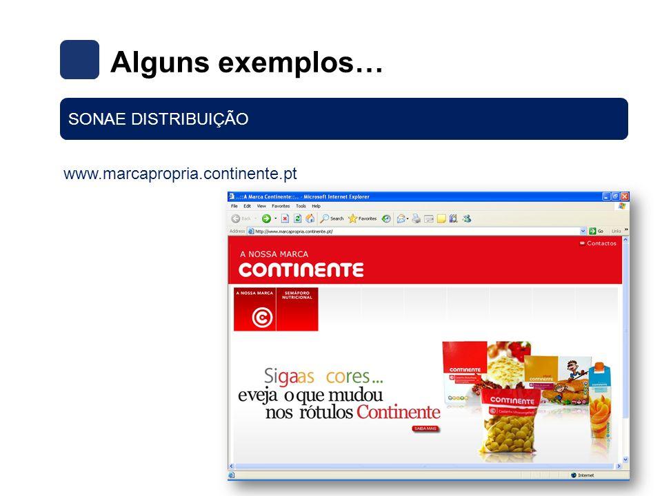 Alguns exemplos… SONAE DISTRIBUIÇÃO www.marcapropria.continente.pt