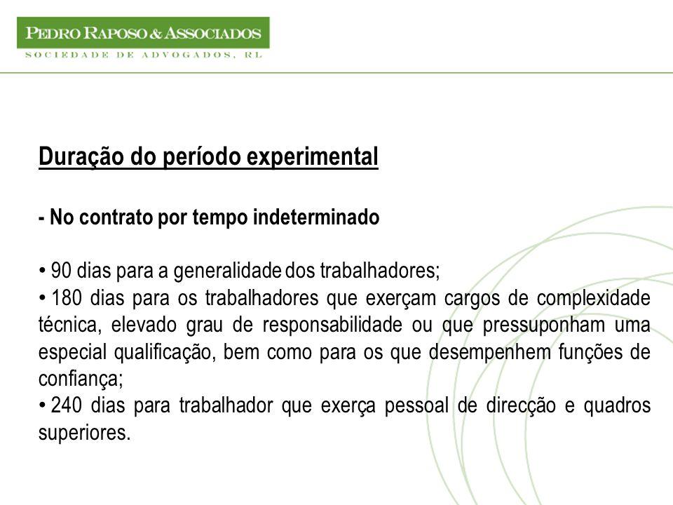 Duração do período experimental