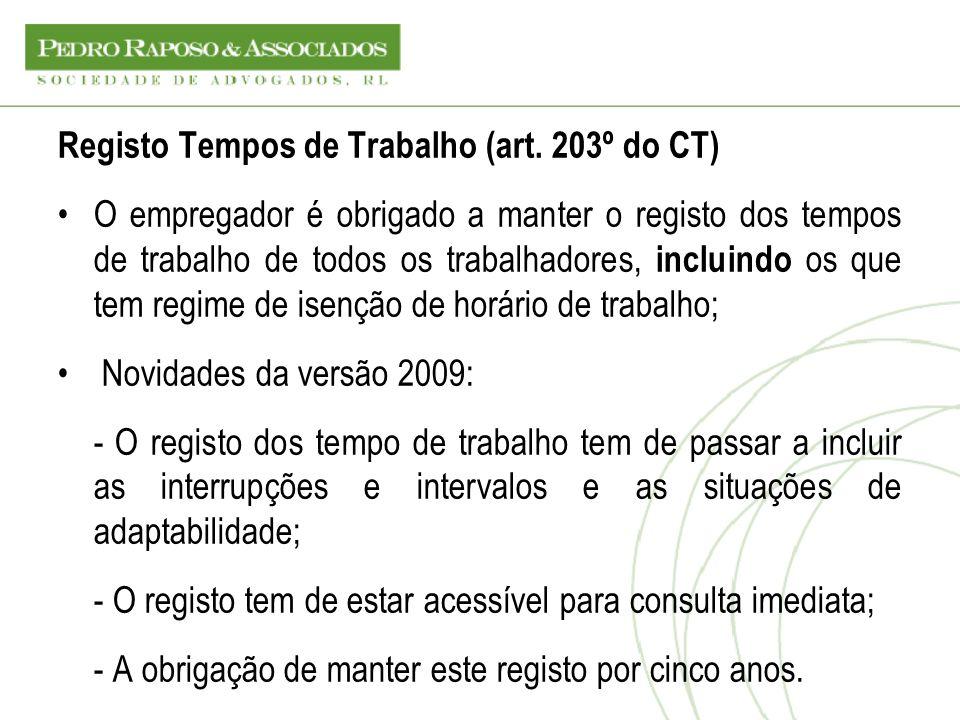 Registo Tempos de Trabalho (art. 203º do CT)