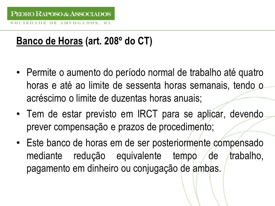 Banco de Horas (art. 208º do CT)