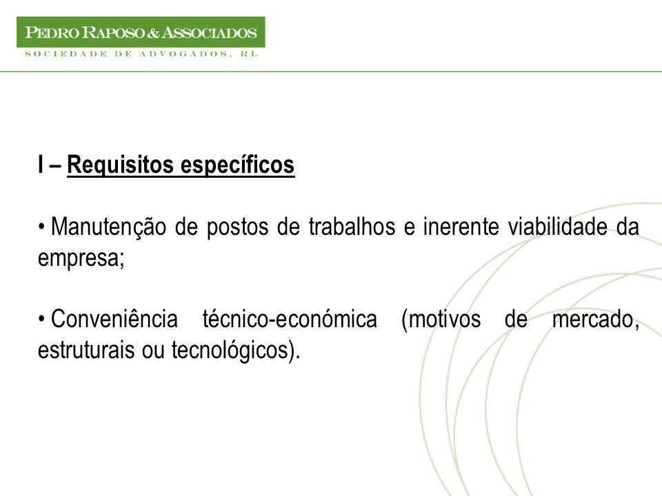 I – Requisitos específicos