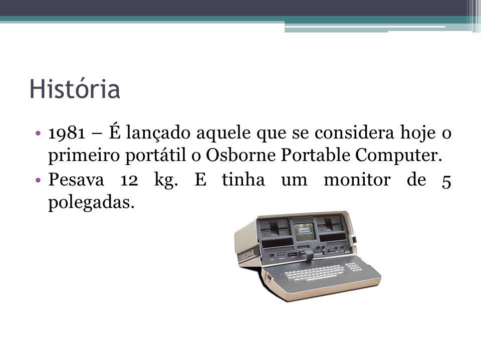 História 1981 – É lançado aquele que se considera hoje o primeiro portátil o Osborne Portable Computer.