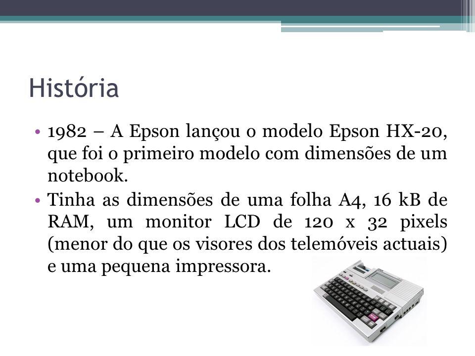 História 1982 – A Epson lançou o modelo Epson HX-20, que foi o primeiro modelo com dimensões de um notebook.
