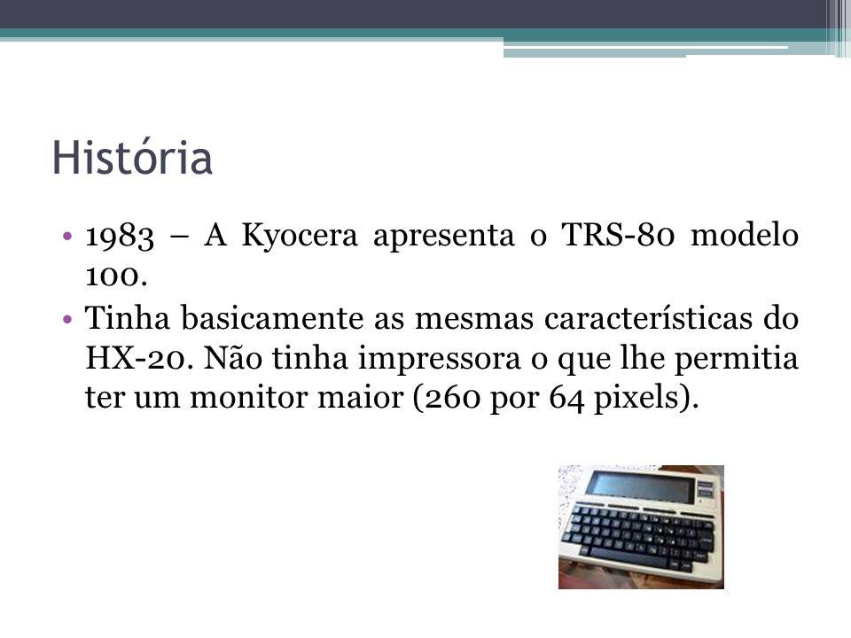 História 1983 – A Kyocera apresenta o TRS-80 modelo 100.