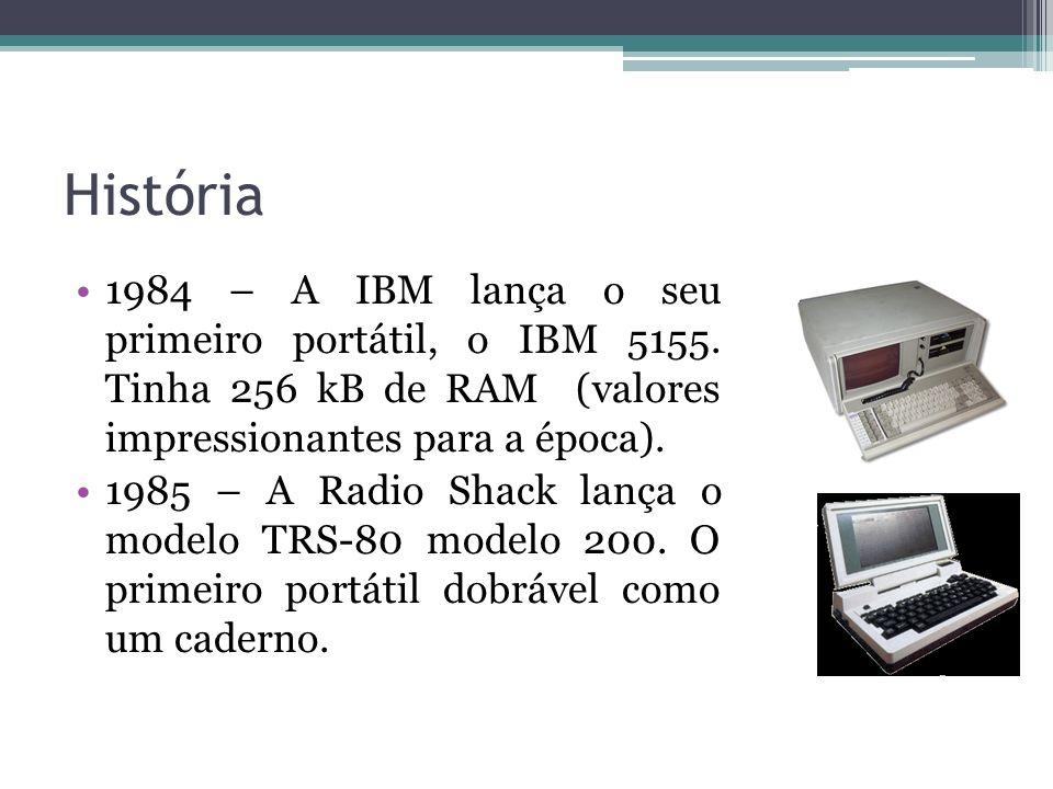 História 1984 – A IBM lança o seu primeiro portátil, o IBM 5155. Tinha 256 kB de RAM (valores impressionantes para a época).