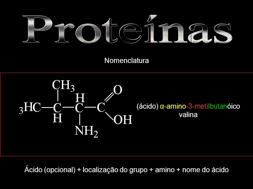 Proteínas Nomenclatura (ácido) α-amino-3-metilbutanóico valina