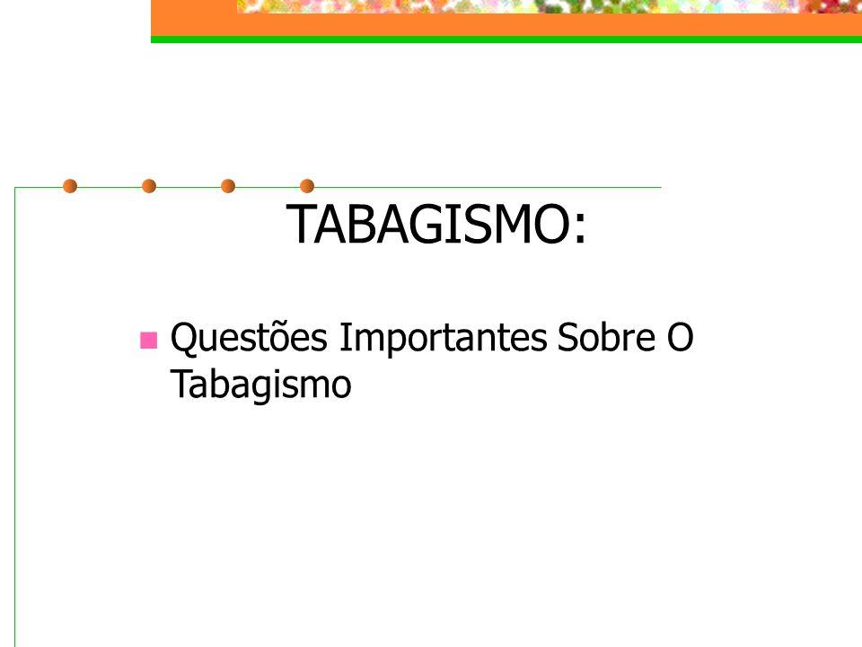 TABAGISMO: Questões Importantes Sobre O Tabagismo