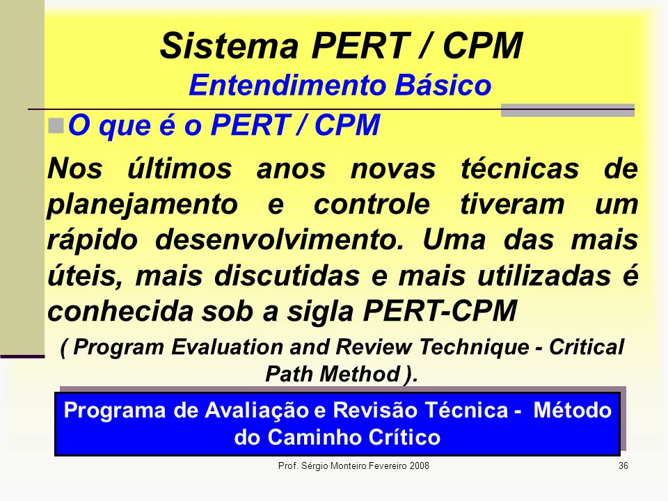 Sistema PERT / CPM Entendimento Básico