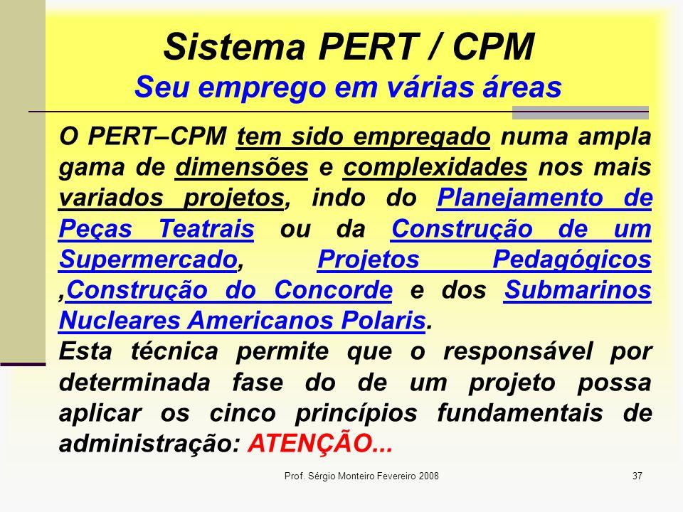 Sistema PERT / CPM Seu emprego em várias áreas