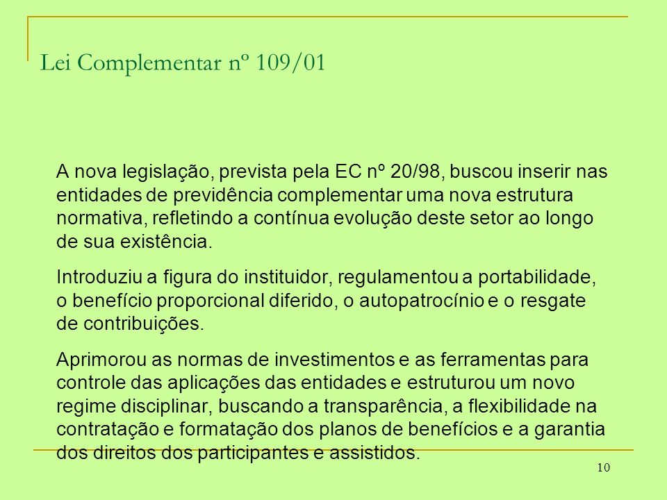 Lei Complementar nº 109/01
