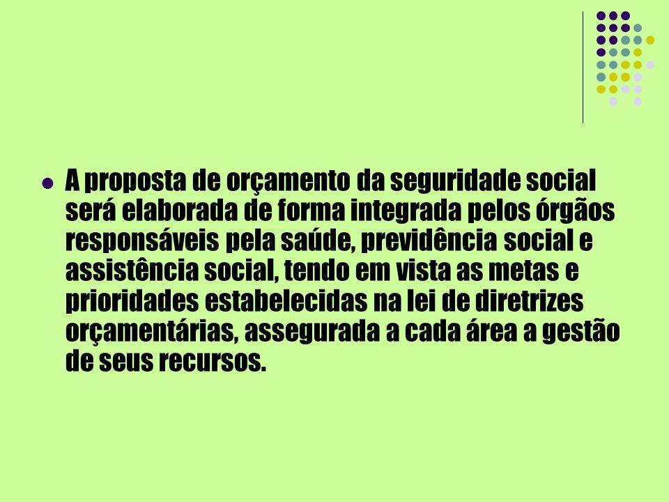 A proposta de orçamento da seguridade social será elaborada de forma integrada pelos órgãos responsáveis pela saúde, previdência social e assistência social, tendo em vista as metas e prioridades estabelecidas na lei de diretrizes orçamentárias, assegurada a cada área a gestão de seus recursos.