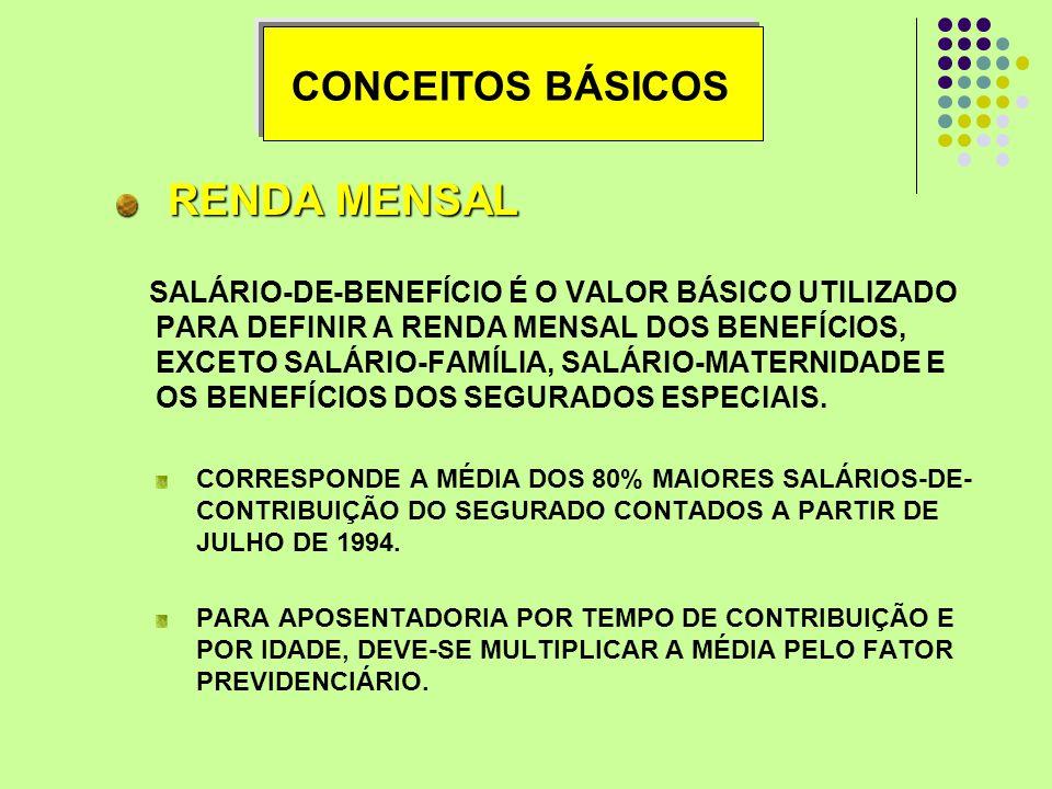 RENDA MENSAL CONCEITOS BÁSICOS