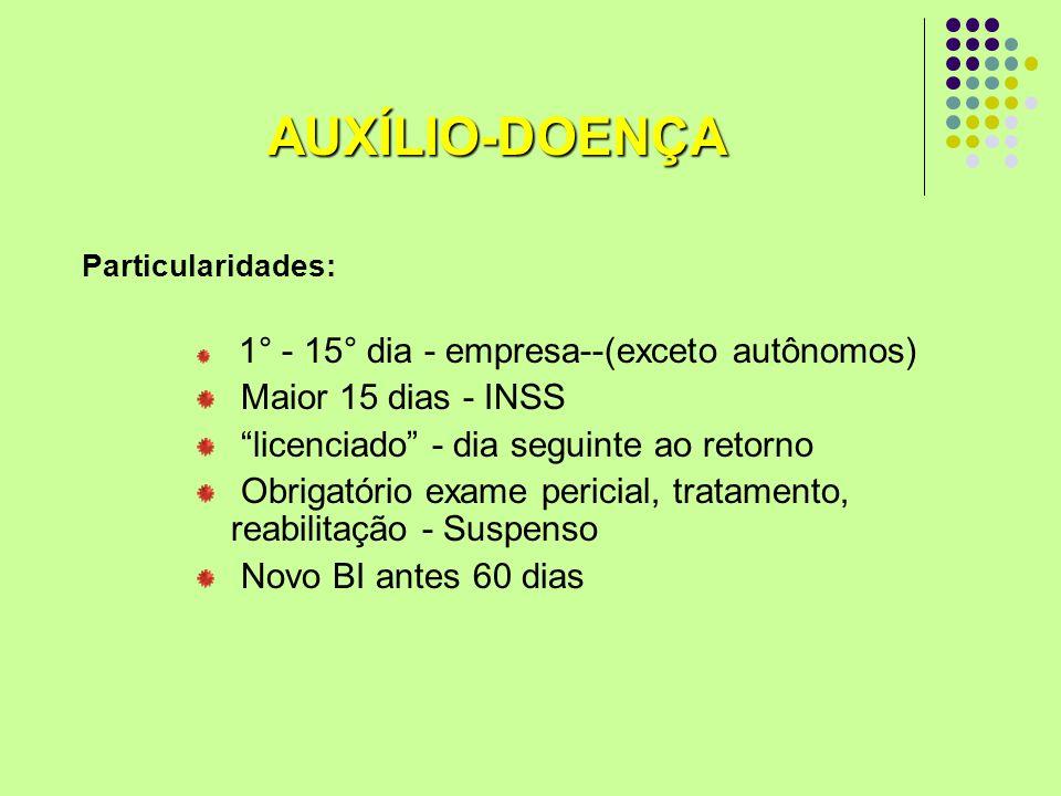 AUXÍLIO-DOENÇA Maior 15 dias - INSS